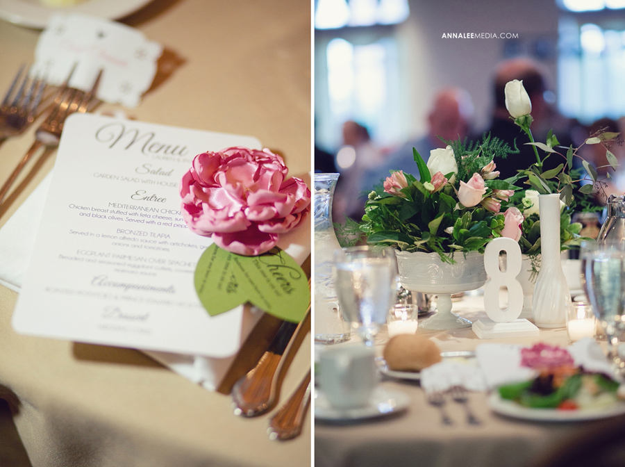 30-norman-oklahoma-wedding-photographer-lauren-buchanan-ryan-elassal-summer-2013-OU-University-of-Oklahoma-ballroom-reception-decor-table-tops-pink-flowers-centrepieces-numbers-menu-fabric-flower-drink-tickets