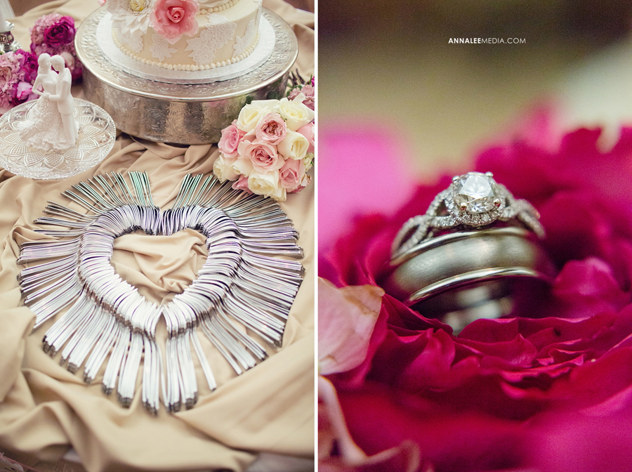 31-norman-oklahoma-wedding-photographer-lauren-buchanan-ryan-elassal-summer-2013-OU-University-of-Oklahoma-ballroom-reception-cake-table-ring-macro-shot-heart-silverware