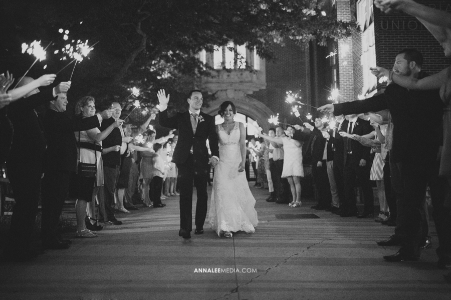 40-norman-oklahoma-wedding-photographer-lauren-buchanan-ryan-elassal-summer-2013-OU-University-of-Oklahoma-ballroom-reception-send-off-exit-sparklers