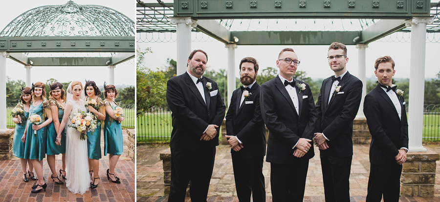 tulsa-oklahoma-wedding-photographer-gilcrease-museum-venue-steve-cluck-joy-jones-28-bridesmaids-flapper-dress-groomsmen